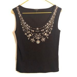 [Escada] Black Jewel Embellished Top - Medium